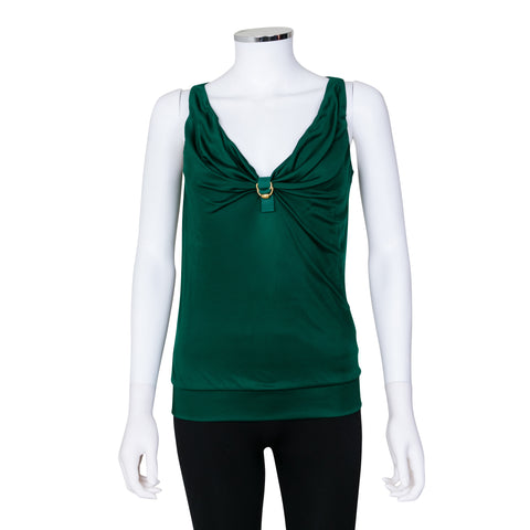 Gucci Sleeveless Top with Gold Buckle Detail