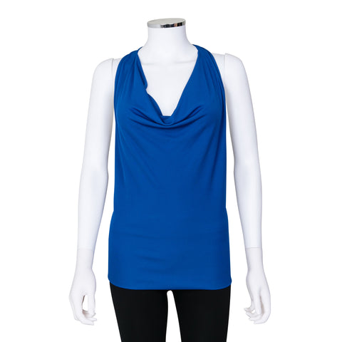 Gucci Blue Cowl Neck Top with Bamboo Detail