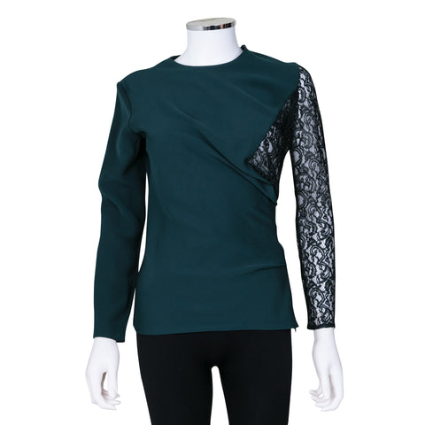 Carven Long Sleeve Top with Sheer Lace Detail