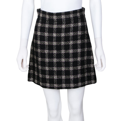 Gucci Metallic Wool Plaid Mini Skirt