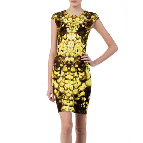 McQ by Alexander McQueen Yellow and Brown Floral Print Dress