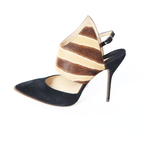 Paul Andrew NEW Black Slingback Pumps with Ponyhair