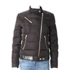 Prada Black Puffer Moto Jacket with Leather Trim