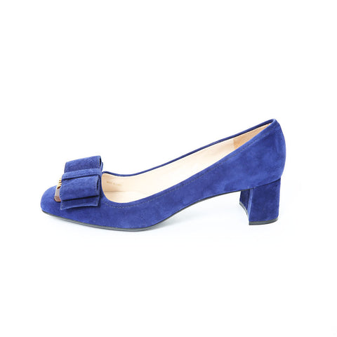 Prada NEW Blue Suede Court Shoes with Bow