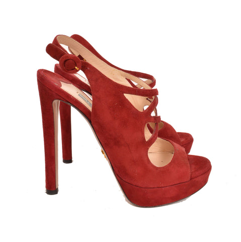 Prada Rust Red Suede Platform Cut-Out Slingback Stiletto Pumps
