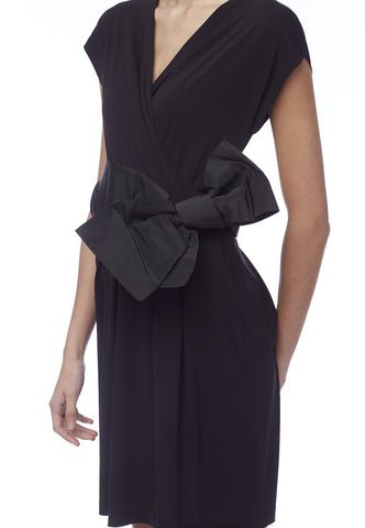 Red Valentino Black V Neck Dress With Bow Belt Suiteadore