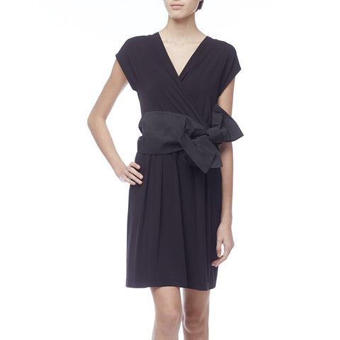 Red Valentino Black V-Neck Dress with Bow Belt