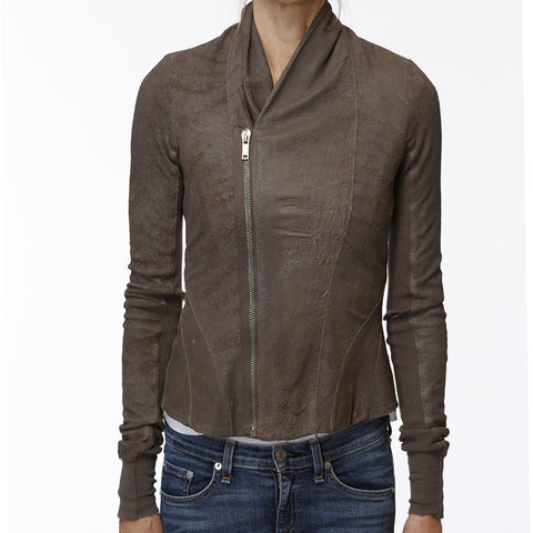 Rick Owens Brown Leather Jacket