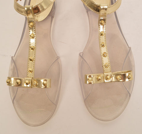 c559809fcbfe3b Stuart Weitzman Clear and Gold Jelly Sandals – SuiteAdore