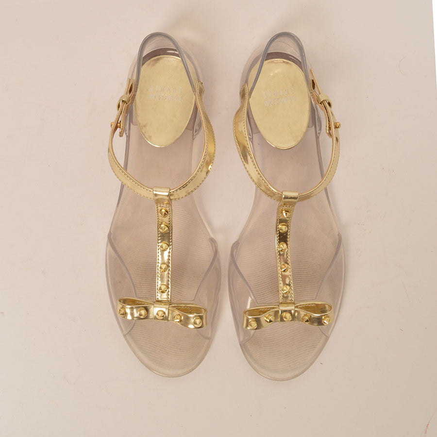 31377884c8cc1e Size  39. Stuart Weitzman Clear and Gold Jelly Sandals · Stuart Weitzman  Clear ...