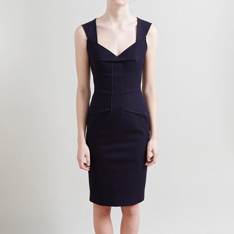 Roland Mouret Navy Blue Tie Back Dress