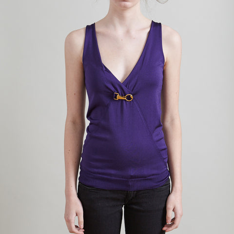 Gucci Purple V-Neck Knit Sleeveless Top with Gold Horsebit