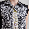 Etro Printed Sleeveless Collared Silk Blouse