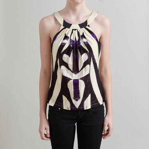Roberto Cavalli Multi-Color Geometric Pattern Halter Top