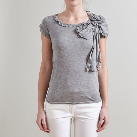 Red Valentino Grey Ruffled Bow Top