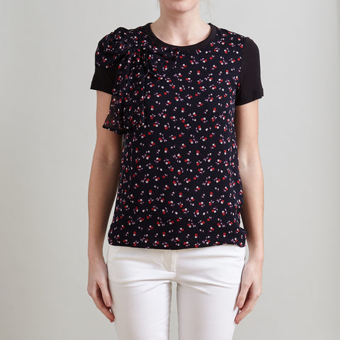 Red Valentino Black Floral Print Silk T-Shirt