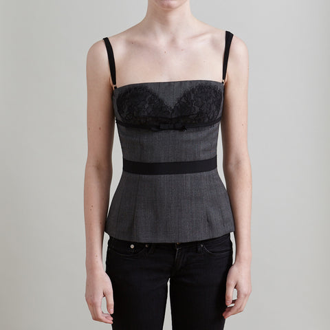 D&G Grey Peplum Top with Lace