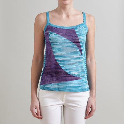 Missoni Turquoise and Purple Knit Tank Top