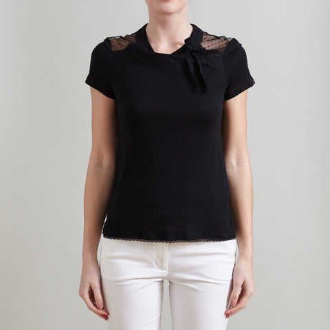 Red Valentino Black Bow and Lace Detailed Sheer T-Shirt