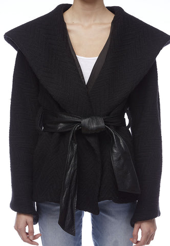 Smythe Wool Jacket with Hood and Leather Tie Belt