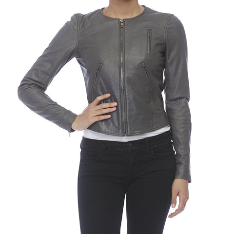 Theory Grey Leather Jacket