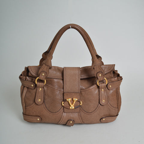 Valentino Brown Leather V Logo Shoulder Bag