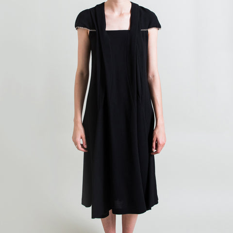 Yves Saint Laurent Black Wool Dress with Chain Trim