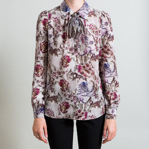 Dolce & Gabbana Floral Print Pussy Bow Blouse