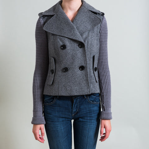 Burberry London Wool Jacket with Knit Sleeves