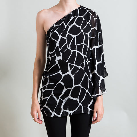 Roberto Cavalli One Shoulder Black and White Printed Silk Blouse