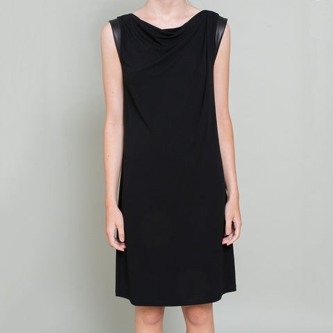 Michael Kors NEW Black Dress with Leather Trim
