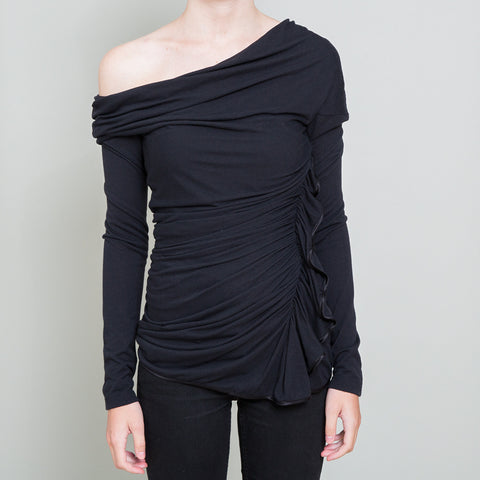 Givenchy Black Off the Shoulder Long Sleeve Top