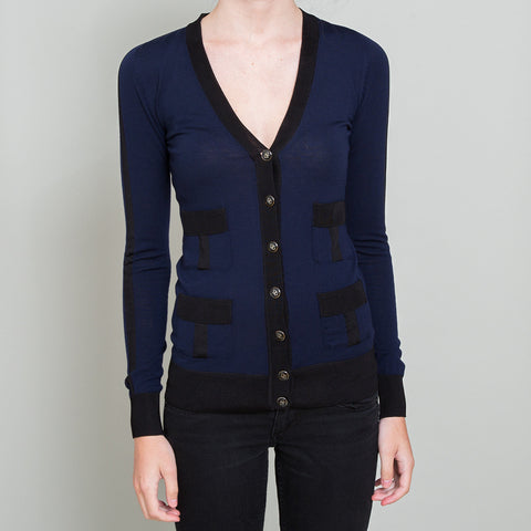 Dolce & Gabbana Navy Blue and Black Cardigan