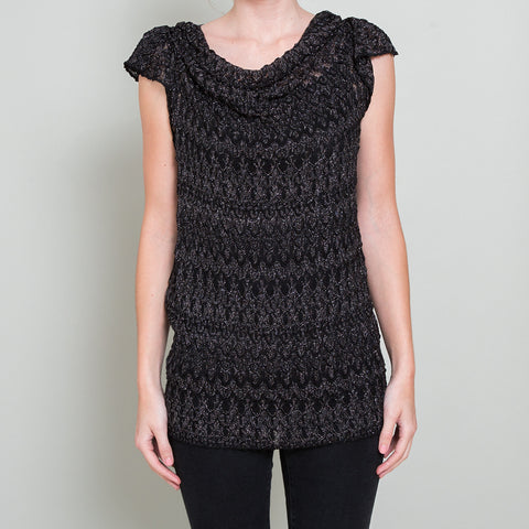 Missoni Metallic Black Sheer Knit Top