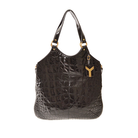 YSL, Yves Saint Laurent Black Patent Embossed Tribute Tote