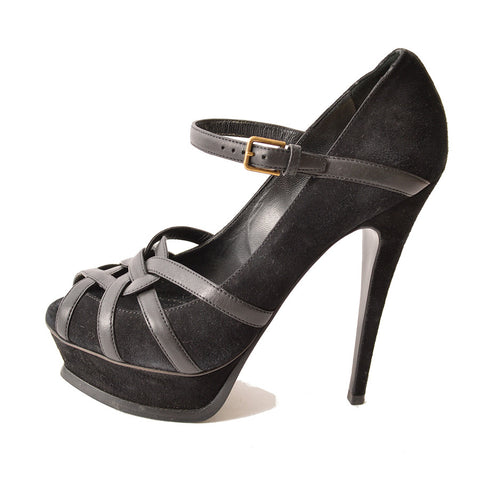 YSL, Yves Saint Laurent Black Suede and Leather Peep-Toe Mary Jane Pumps
