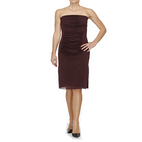 YSL Burgundy Silk Strapless Dress - NEW