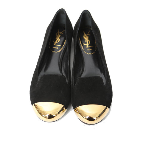 official site for sale cheap sale how much Yves Saint Laurent Cap-Toe Suede Flats cheap original free shipping purchase free shipping lowest price Zso8lGN