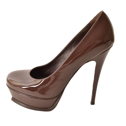 Yves Saint Laurent Brown Patent 'Tribute 105' Platform Pumps
