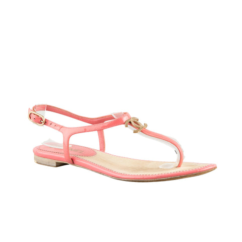 Chanel Pink Patent Leather Flat Sandals with 'CC' Charm