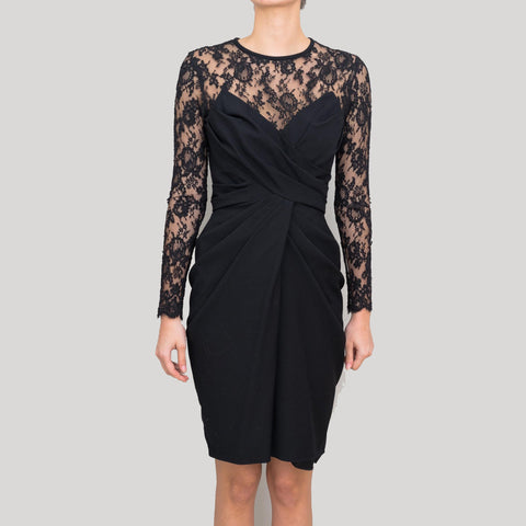 Arthur Mendonca Black Lace Dress with Draping