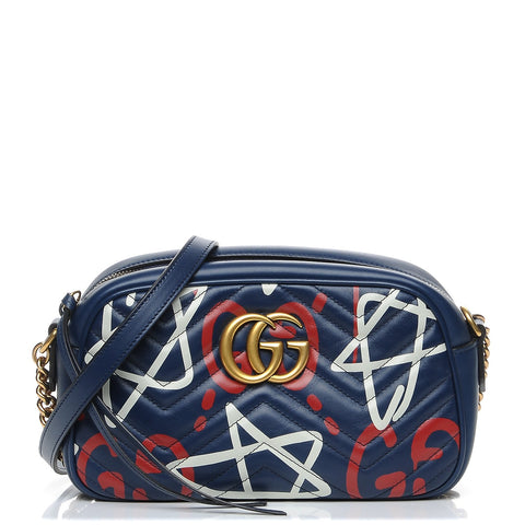 Gucci Calfskin 'GucciGhost' Small GG Marmont Shoulder Crossbody Bag