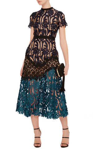 Self-Portrait NEW Lace Combo Midi Dress
