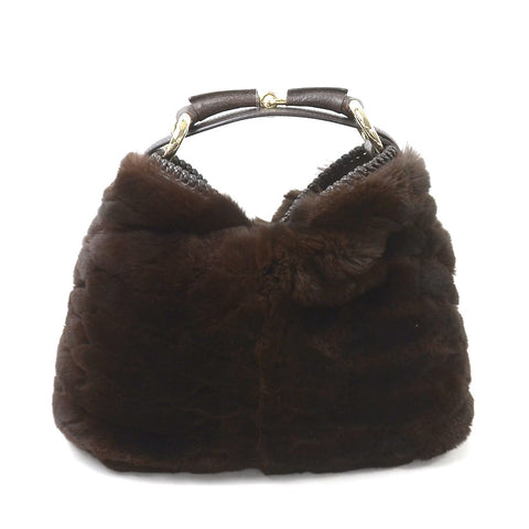 Gucci Fur with Horsebit Top Handle Bag