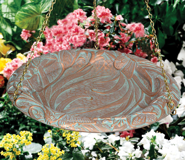 Whitehall Butterfly Hanging Birdbath Copper Verdi
