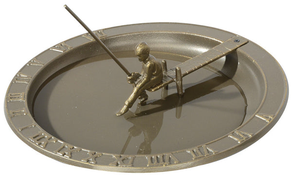 Whitehall Fisherboy Sundial Birdbath French Bronze