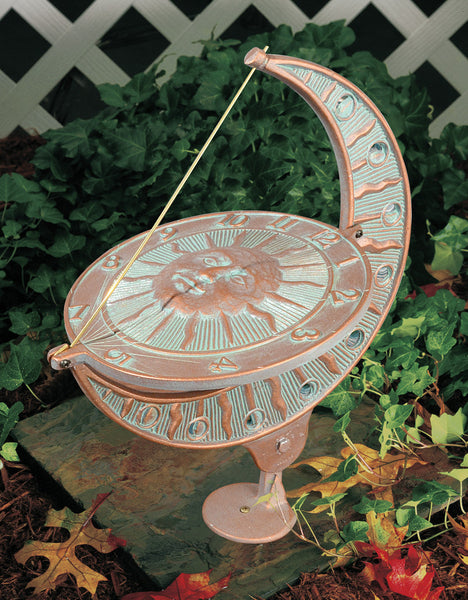 Whitehall Sun and Moon Sundial Copper Verdi