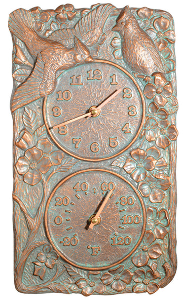 Whitehall Cardinal Combo Clock Thermometer Copper Verdi