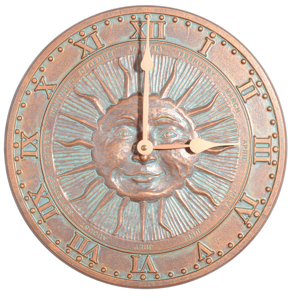 Whitehall Sunface Clock Copper Verdi