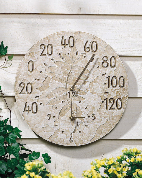 Whitehall Fossil Sumac Thermometer Clock Weathered Limestone